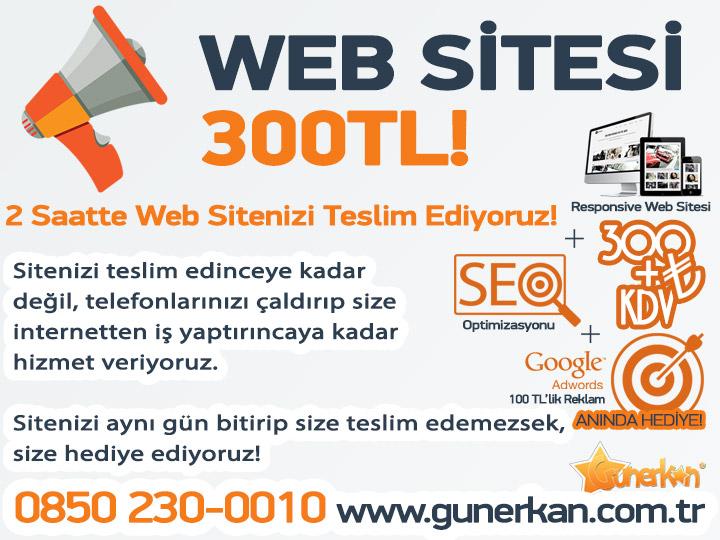 Şok Kampanya! 300 TL'ye Web Sitesi!